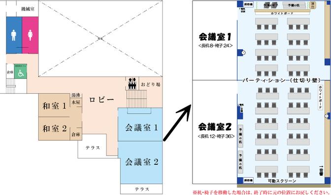 コミュニティセンターの2Fフロアマップ