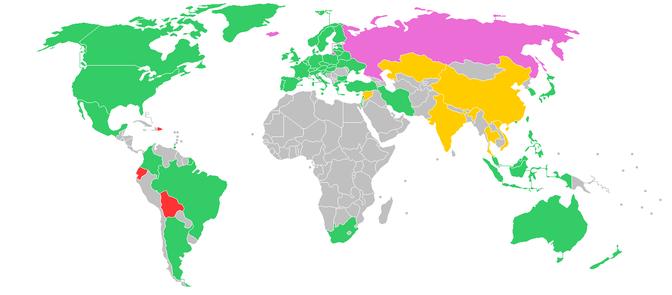 世界各国ビットコイン対応状況の色分け