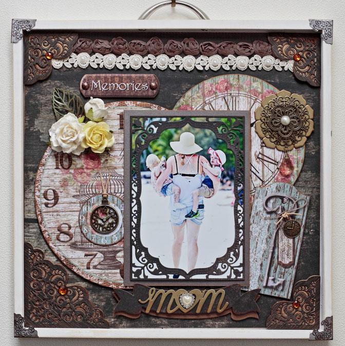 5/11銀座クラス「MOM」  ヴィンテージ感のある母の日作品です。作品に使用した写真は、昨年秋ニューカレドニア/イルデパン島クトビーチにて、若いお母さんが両手に軽々と子供を抱えて歩く姿がとても強く逞しく美しく、思わずシャッターを押した1枚です。