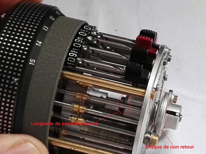 Vérification du degré d'usure et du besoin d'entretien sur le disque de non retour et la languette de positionnement
