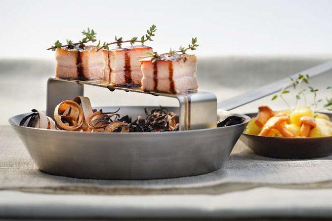 Geschmorte Spanferkelbrust-Pralinen Rezept Ricetta Gourmet Südtirol