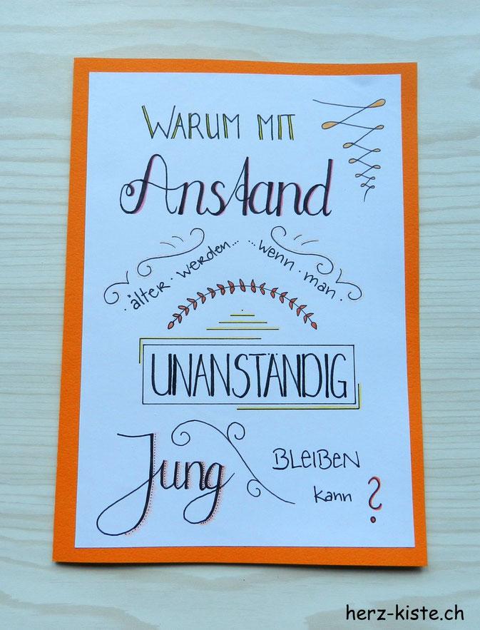 Handlettering Geburtstagskarte - unanständig jung bleiben