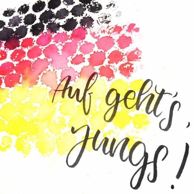 Letter Lovers - fraeulein.hoffmann - Noppenfolie mit Handlettering Auf geht's Jungs