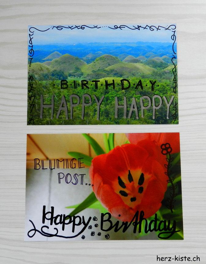 Happy Birthday Geburtstagskarten aus Fotos - gelettert