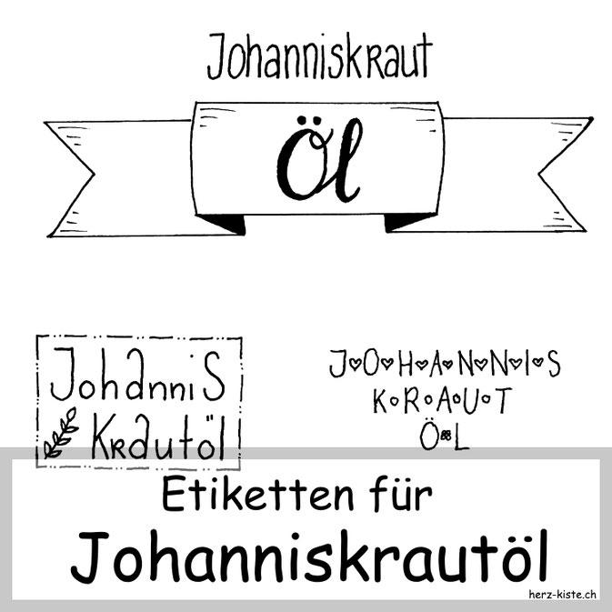 Etiketten für Johanniskrautöl zum Download
