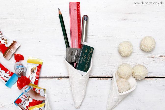 DIY Eiswaffeln aus Fimo als Geschenkverpackung