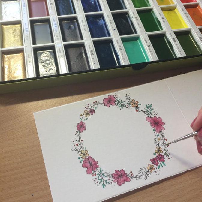 Letter Lovers - anna.schokolade - Blumenkränze ausmalen