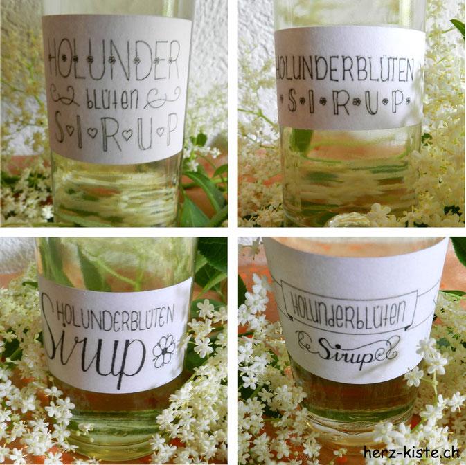Holunderblütensirup mit selbst geletterten Etiketten