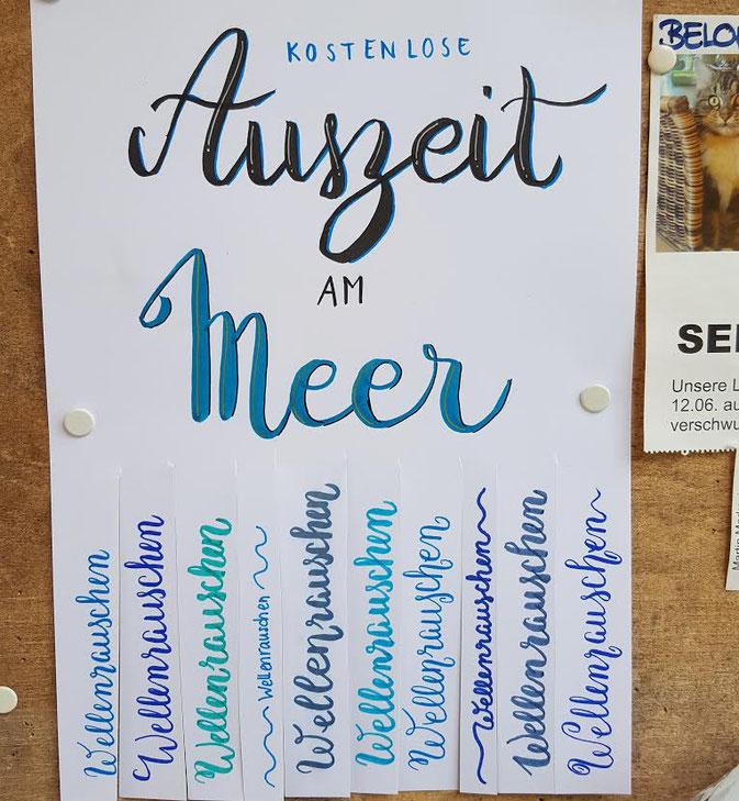 LetterLovers - iletterju - Handlettering Auszeit am Meer