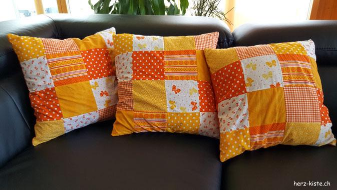 Patchwork Kissen - orange müssen sie sein... =)