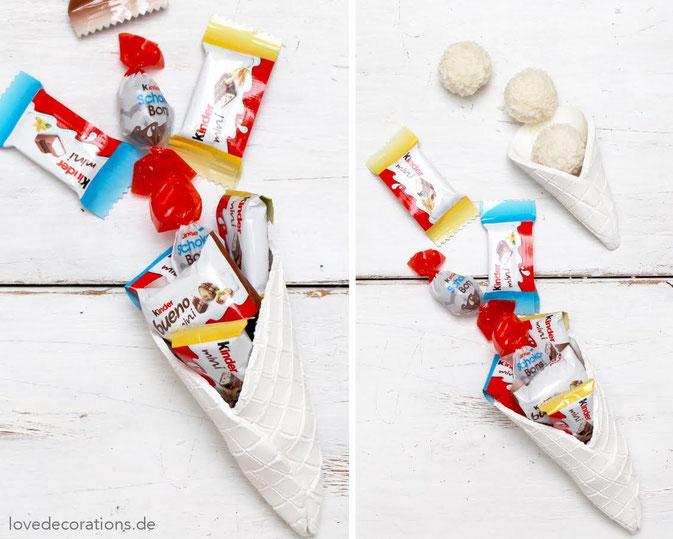 Selbstgemachte Eiswaffeln aus Fimo mit Süssigkeiten als Geschenk