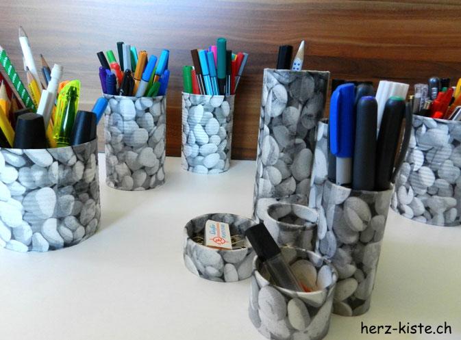 Upcycling Stiftehalter mit Serviettentechnik