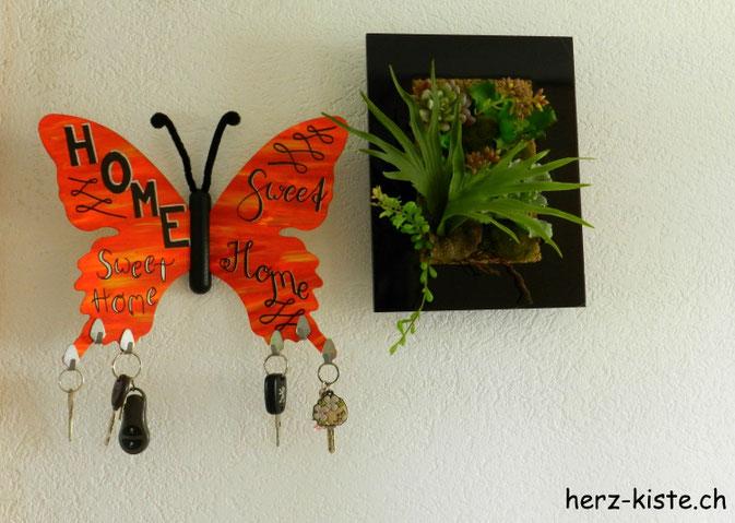 DIY Schmetterling Schlüsselbrett aus Sperrholz