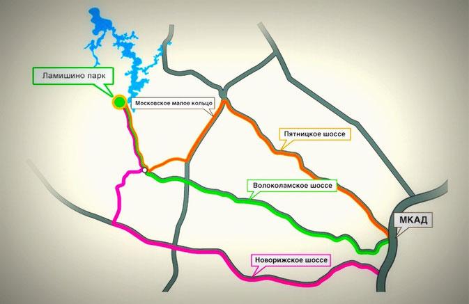 схема проезда ламишино парк земельный участок в первой линии истринского водохранилища