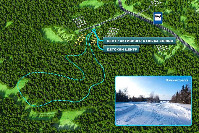 карта лыжной трассы зорино спорт актив ресот виладж