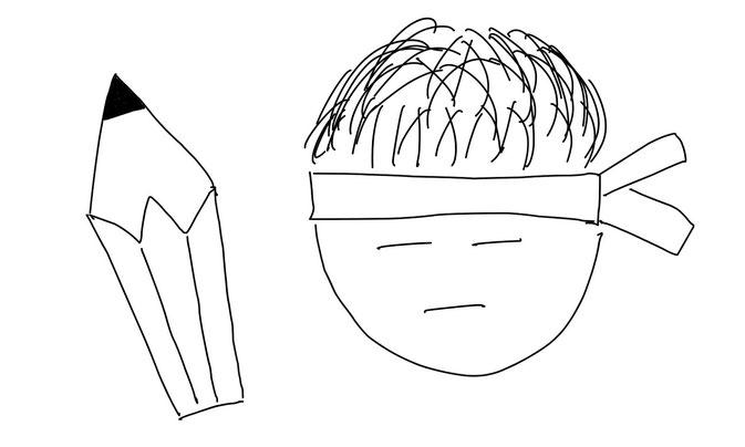 アイコン 「勉強」 (作: 塚原 美樹) ~ 鉛筆の先の部分を描き、持ち手に線を引く