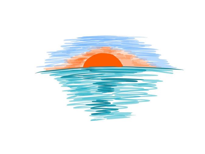 アイコン 「夕方」 (作: 塚原 美樹) ~ 赤く染まり切らない青い空を描く