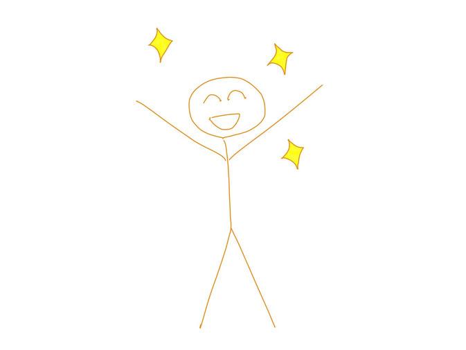 アイコン 「リフレッシュ」 (作: 塚原 美樹) ~ 人のまわりにキラキラ模様を描き、黄色く塗る