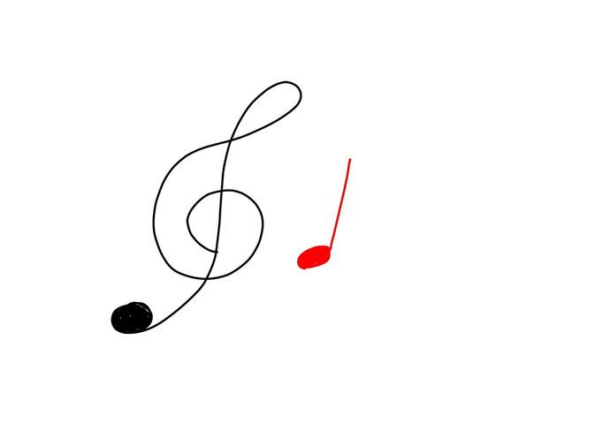 アイコン 「音楽」 (作: 塚原 美樹) ~ 音符の玉を描く