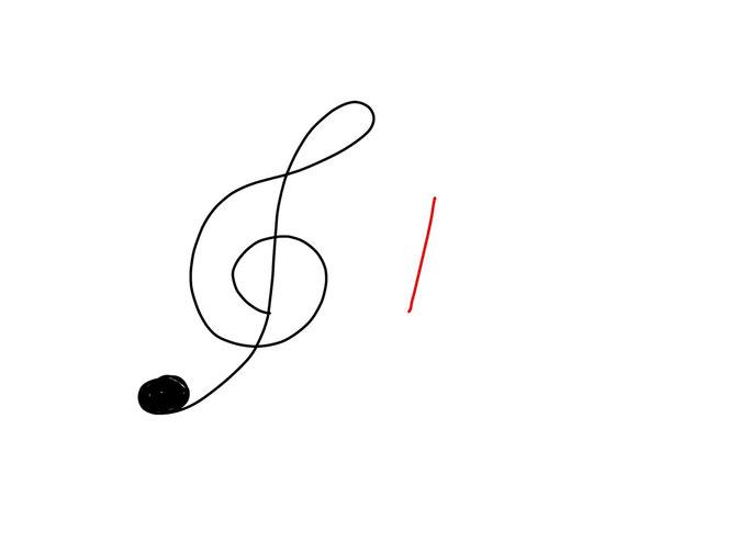 アイコン 「音楽」 (作: 塚原 美樹) ~ 八分音符の線を描く
