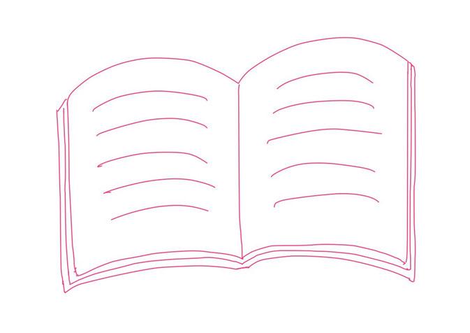 アイコン 「読書」 (作: 塚原 美樹) ~ 書かれている文字を線で表す