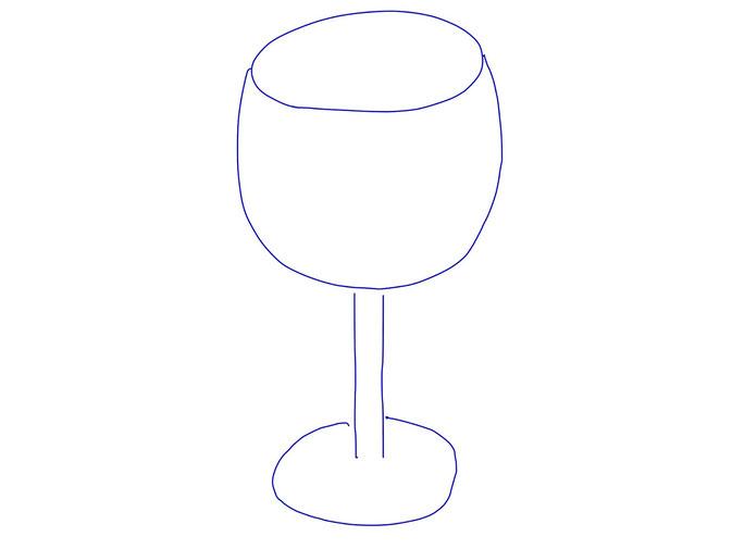 アイコン 「ワイン」 (作: 塚原 美樹) ~ 持ち手から下の部分を描く