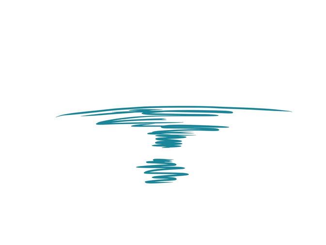 アイコン 「夕方」 (作: 塚原 美樹) ~ 水平線を描き、その下側に海を描く