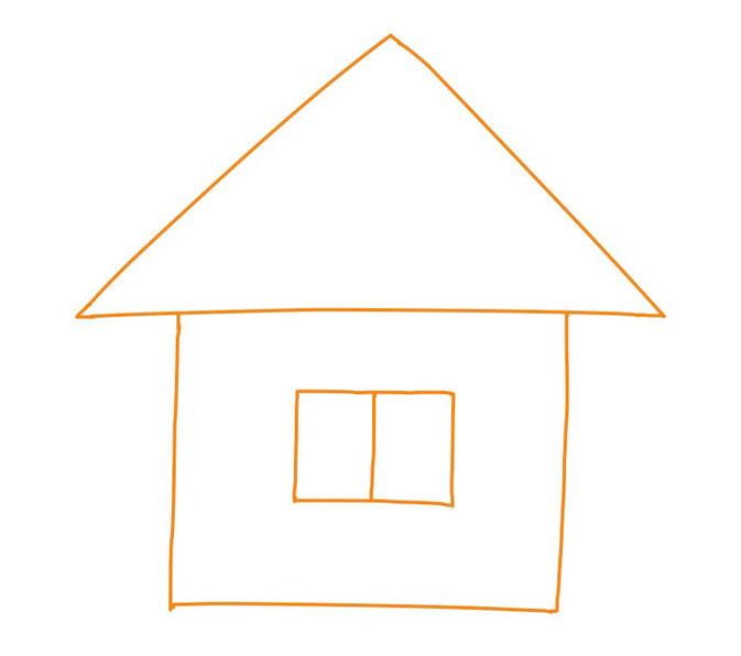 アイコン 「自宅」 (作: 塚原 美樹) ~ 窓を描く