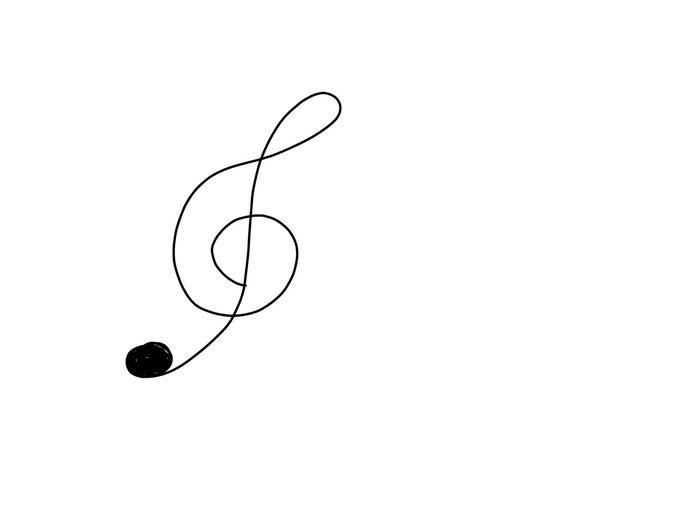 アイコン 「音楽」 (作: 塚原 美樹) ~ ト音記号を描く