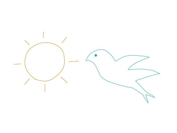 アイコン 「朝」 (作: 塚原 美樹) ~ 右側に鳥を描く