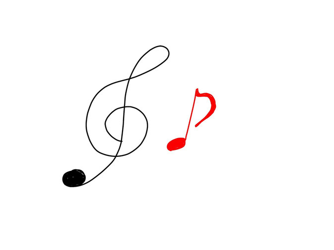 アイコン 「音楽」 (作: 塚原 美樹) ~ 最後に音符のヒゲを描く