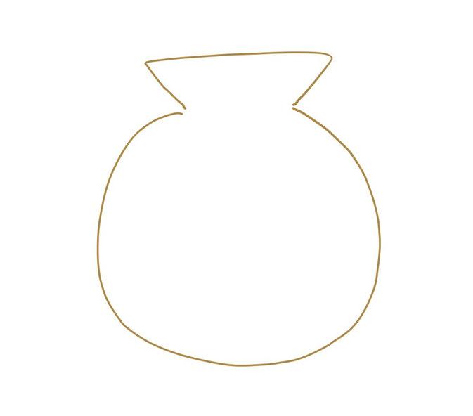 アイコン 「お金」 (作: 塚原 美樹) ~ 袋の口の下に袋全体を描き足す