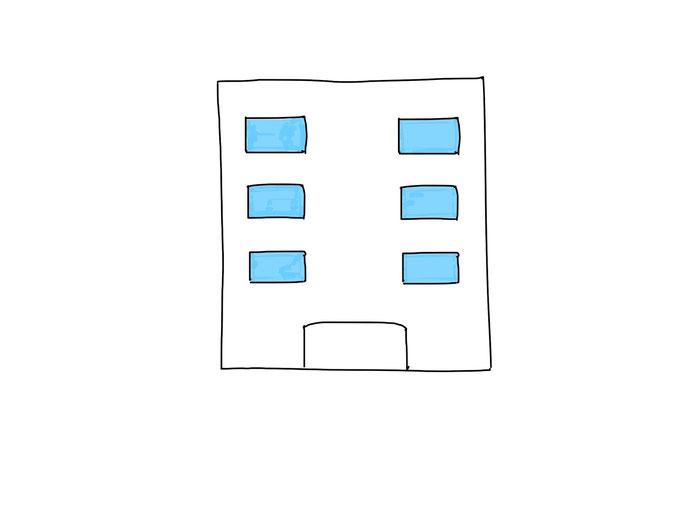 アイコン 「会社」 (作: 塚原 美樹) ~ 窓を水色で塗っても良い
