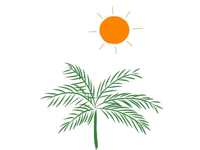 アイコン 「昼」 (作: 塚原 美樹) ~ ヤシの木の上に太陽を描いてできあがり