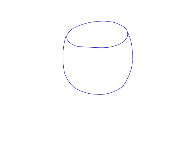 アイコン 「ワイン」 (作: 塚原 美樹) ~ 丸い容器の部分を描く