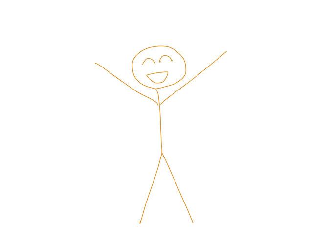 アイコン 「リフレッシュ」 (作: 塚原 美樹) ~ 手を広げて喜んでいる人を線だけで描く