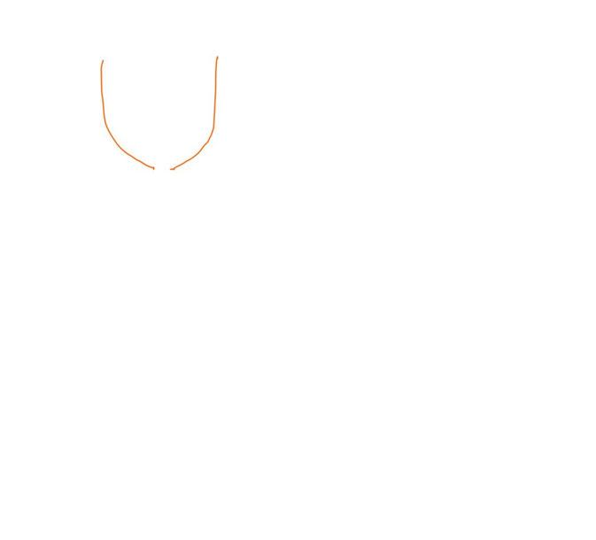 アイコン 「食事」 (作: 塚原 美樹) ~ フォークの先の部分の外側を最初に描く
