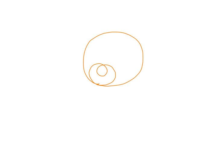 アイコン 「電球」 (作: 塚原 美樹) ~ 電球のガラスの部分にくるっと曲線を描く
