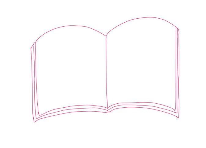 アイコン 「読書」 (作: 塚原 美樹) ~ 真ん中の線と隠れているページを描く