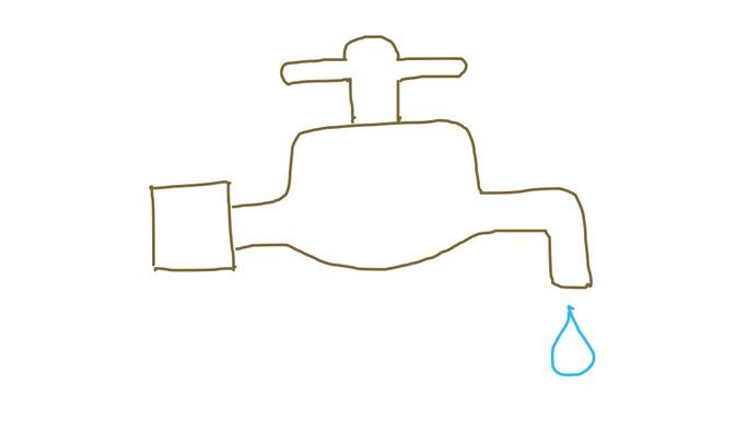 アイコン 「水道」 (作: 塚原 美樹) ~ ひねるところとしたたる水を描く