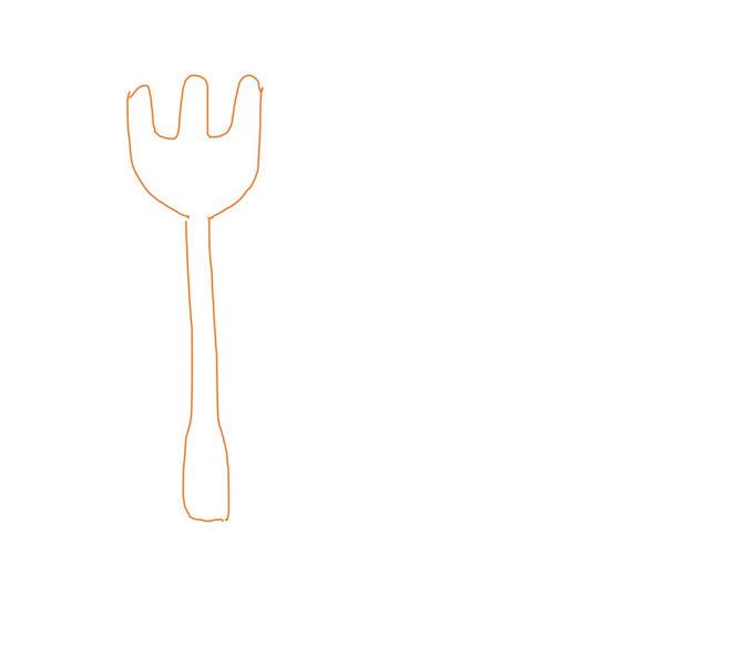 アイコン 「食事」 (作: 塚原 美樹) ~ フォークの先の割れている部分を描く