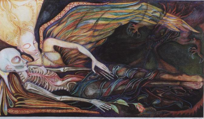 Skelett mit Engel