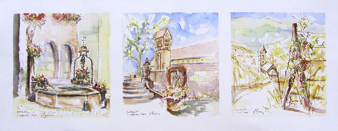 vignobles grands crus zinnkoepflé,vorbourg,steinert. village alsace, aquarelle Alsace, Alsace