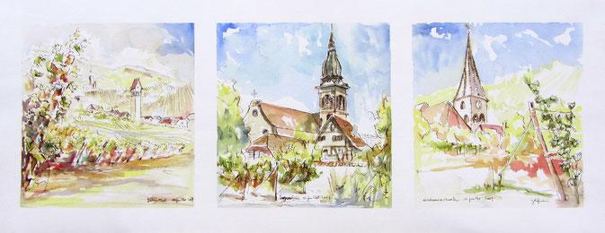 * Aquarelle Alsace :  Katzenthal, Ingersheim, Niedermorschwihr ,clocher tors,grand cru Forimont,grand cru Sommerberg.