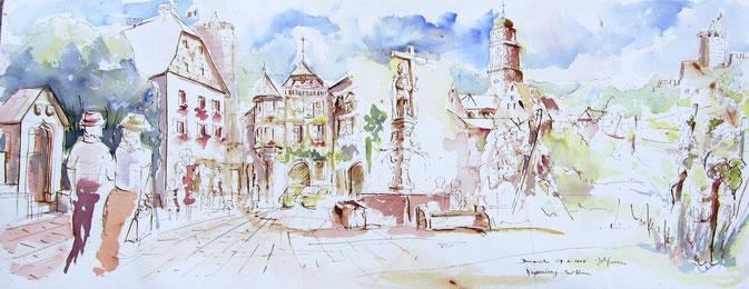 Aquarelle Alsace : Kaysersberg,Maison natale d'Albert Schweitzer, Ancienne ville libre Renaissance