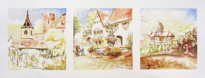 Aquarelle Alsace : Fçete de la grenouille,fête desz caves,gueberschwihr église romane avec clocher à trois étages ,cru Goldert.