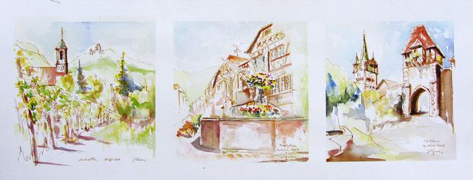 Aquarelle Alsace : Bas-Rhin avec Orschwiller, Kintzheim, Châtenois.Château du Haut-Koenigsbourg,Cigoland,parc des cigognes,grand cru Praslatenberg.
