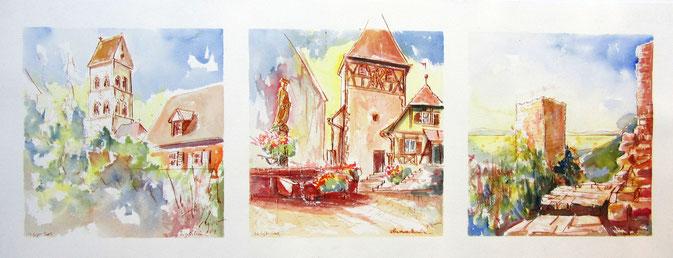 Aquarelle Alsace : Sigolsheim, Obermoschwihr  seul clocher à colombage Alsacien, Husseren-les-Châteaux ,abbaye deMarbach, grand cru Mambourg,Marckran.