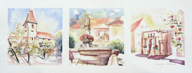 * Ammerschwihr, la Porte Haute, la Fontaine des Vendangeurs, façade de l'ancien Hotel -de-ville  Renaissance  village alsace, aquarelle Alsace, Alsace