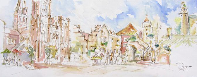 Aquarelle Alsace : Tour des sorcières,Charlemagne,le Roi Dagobert,Maréchal Lefèbvre,foire éco-biologique